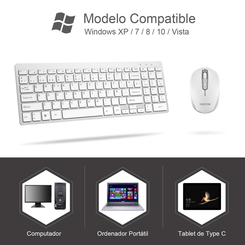 OMOTON Pack de Teclado y Ratón Inalámbrico 2.4Ghz, Teclado Español y Ratón Inlámbrico para Windows XP/ 7/8/ 10/ Vista, Color Blanco: Amazon.es: Electrónica