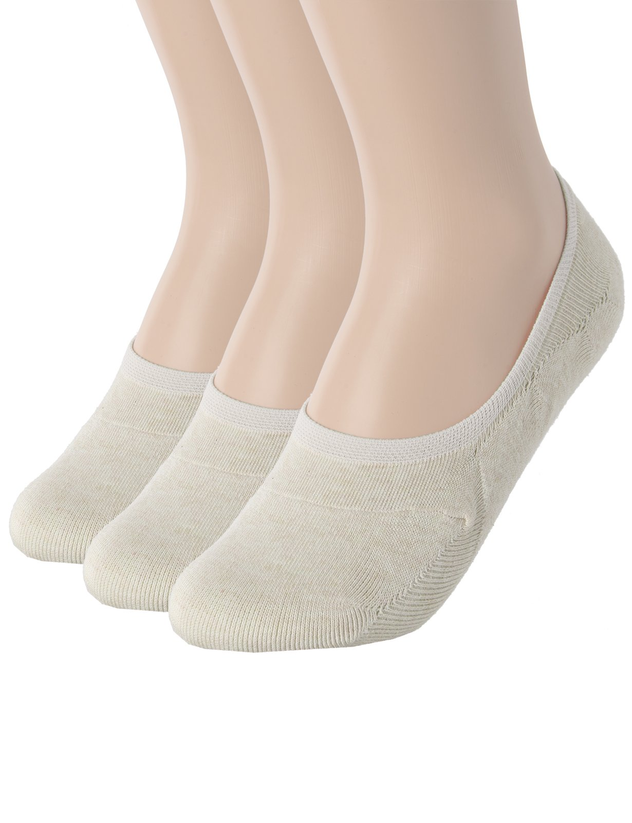 OSABASA Womens Casual No-Show 3Pairs Socks of Various Pastel Colors BEIGE M (SET3KWMS058)
