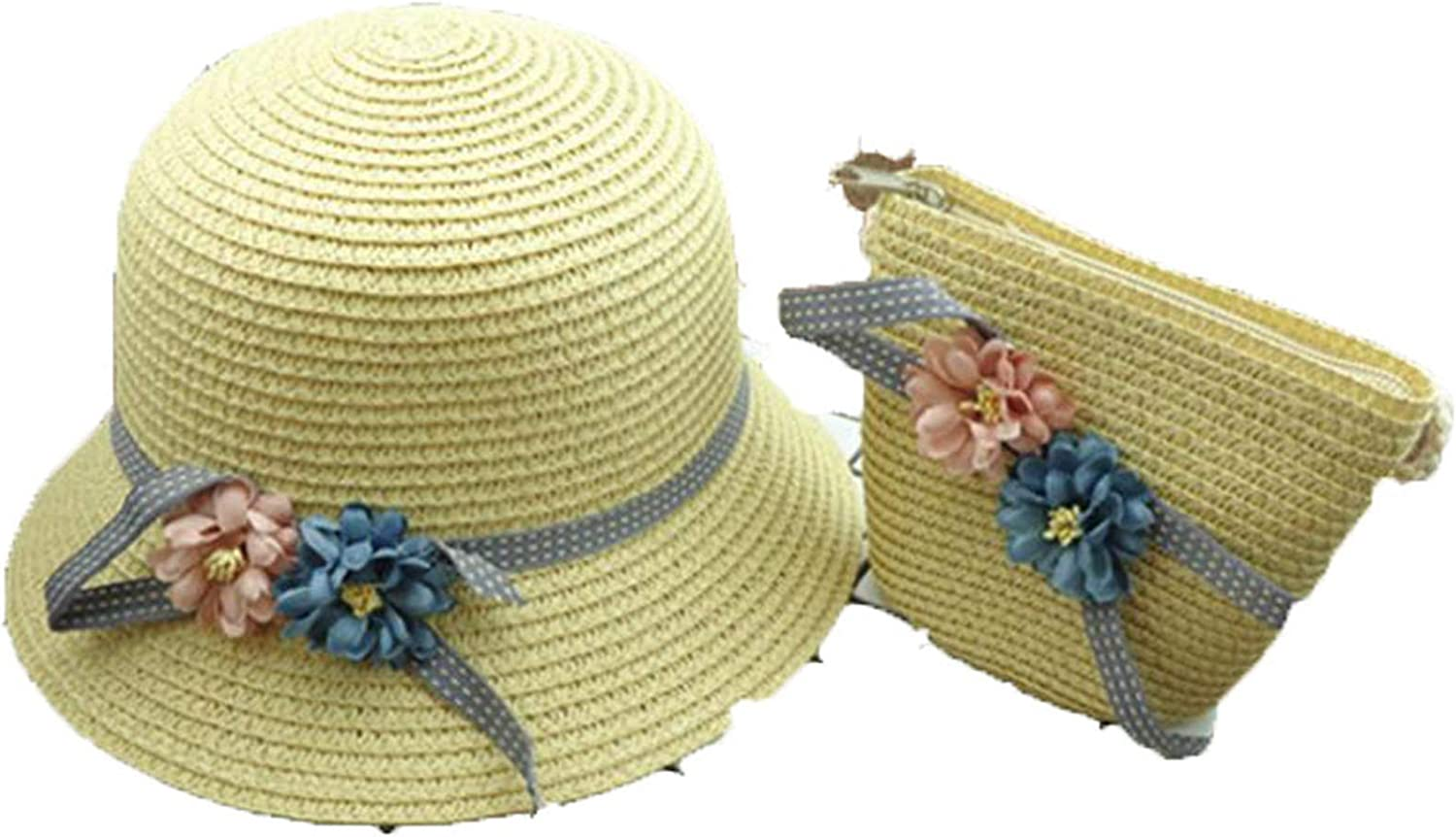 Boy Girls Straw Hats Flowers Summer Sun Hats for Kids Children Beach Hats Foldable Sunscreen Including Bag Beige 1 3 to 8 Years Old