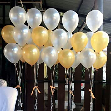BELLE VOUS Globos de Látex 103 Piezas Globos de 30,5cm Dorados y Blancos Látex