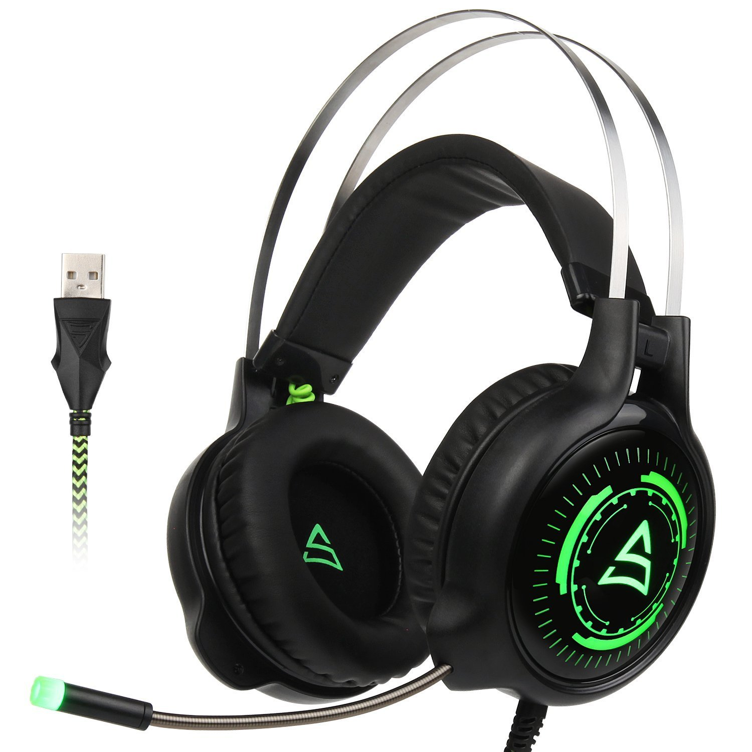 [SUPSOO Newly Updated USB Gaming Headphone] G815 Gaming headset Computer Over Ear Stereo Gaming Headsets With Mic Noise Isolating Volume Control LED Light For PC & MAC (Black/Green)