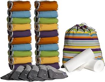 Close Parent 5060123253023 - Pack de 20 pañales de tela de bambú + 6 absorbentes de noche + 160 forros + 1 bolsa impermeable: Amazon.es: Salud y cuidado personal