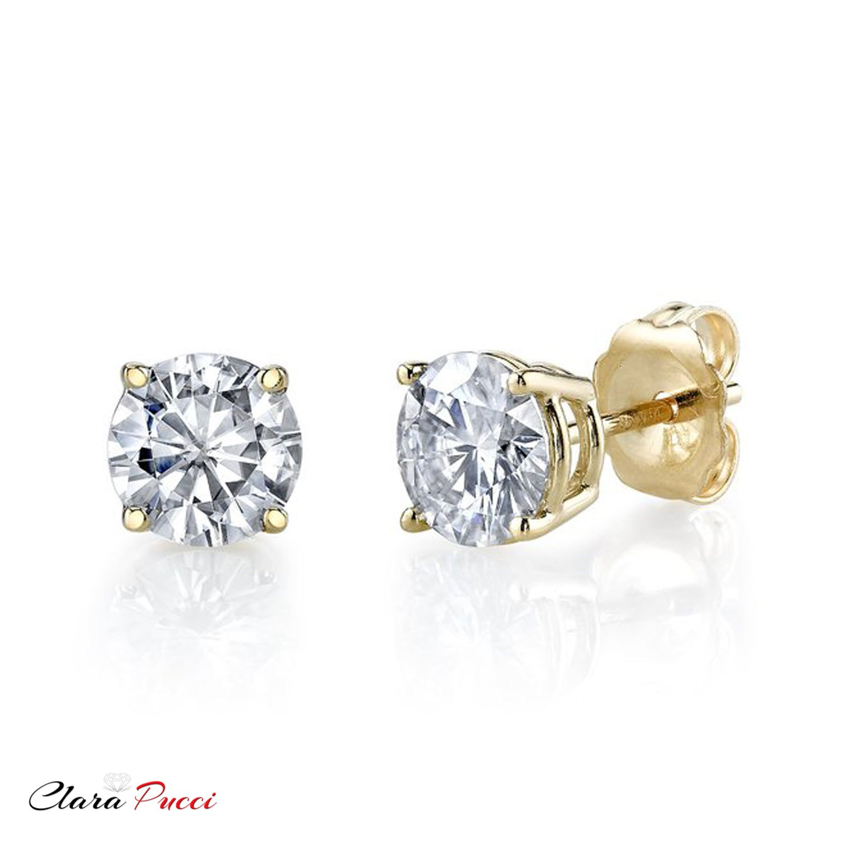 2.0 ct Round Brilliant Cut Simulated Diamond CZ Solitaire Stud Earrings in 14k Yellow Gold Push Back by Clara Pucci (Image #10)