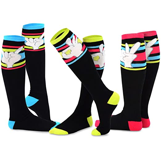 8840272126b TeeHee Novelty Cotton Knee High Fun Socks 3-Pack for Junior and Women  (Finger