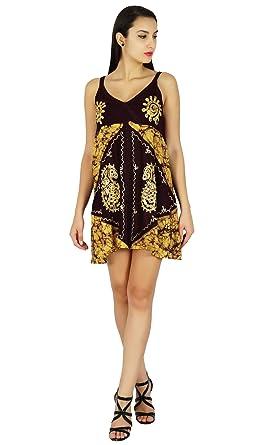 da7eac18da1a SEASHORE Summer Batik Printed Dress Beach Top Casual Viscose Rayon Tunic  Sundress  Amazon.co.uk  Clothing