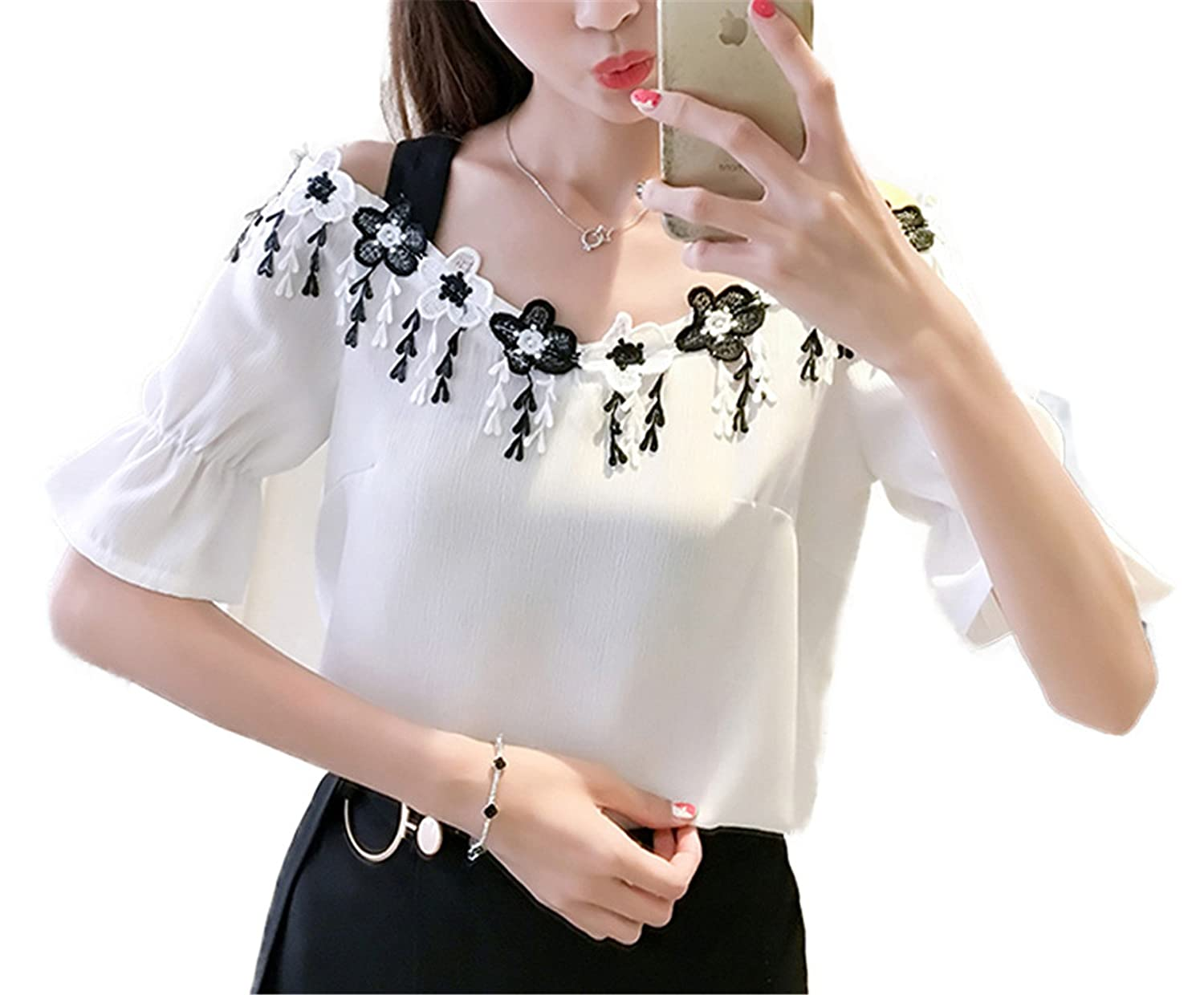 OUXIANGJU Women Summer Elegant White Off Shoulder Blouse Shirt Short Sleeve Flower Tassel Tops at Amazon Womens Clothing store: