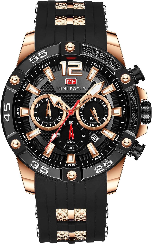 Mini Focus hombres negocios deportes relojes nuevo calendario cronógrafo, pulsera de silicona impermeable reloj de cuarzo para marido regalo