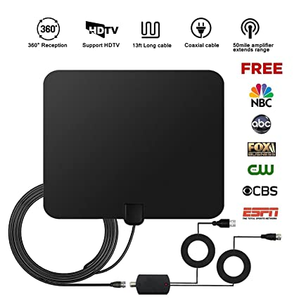 TV Antenna Digital Antenna Indoor HDTV Signal Amplifier HD Detachable 13ft Coaxial Cable High Reception 50