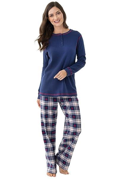 fabcc6a60f PajamaGram - Pijama para Mujer - Franela - Cuadros con Copos de Nieve -  Azul  Amazon.es  Ropa y accesorios