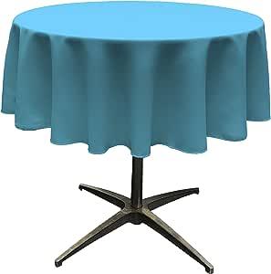"LA Linen Polyester Poplin Round Tablecloth, 58"", Turquoise Dark"