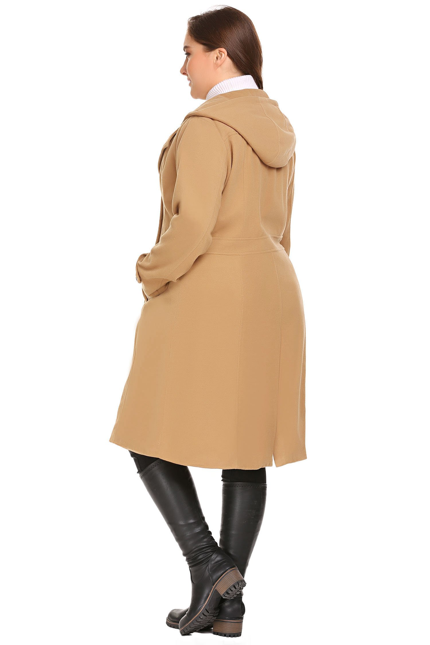 Zeagoo Women Plus Size Double Breasted Wool Elegant Long Lined Lightweight Trench Coat (16W-24W) by Zeagoo (Image #7)