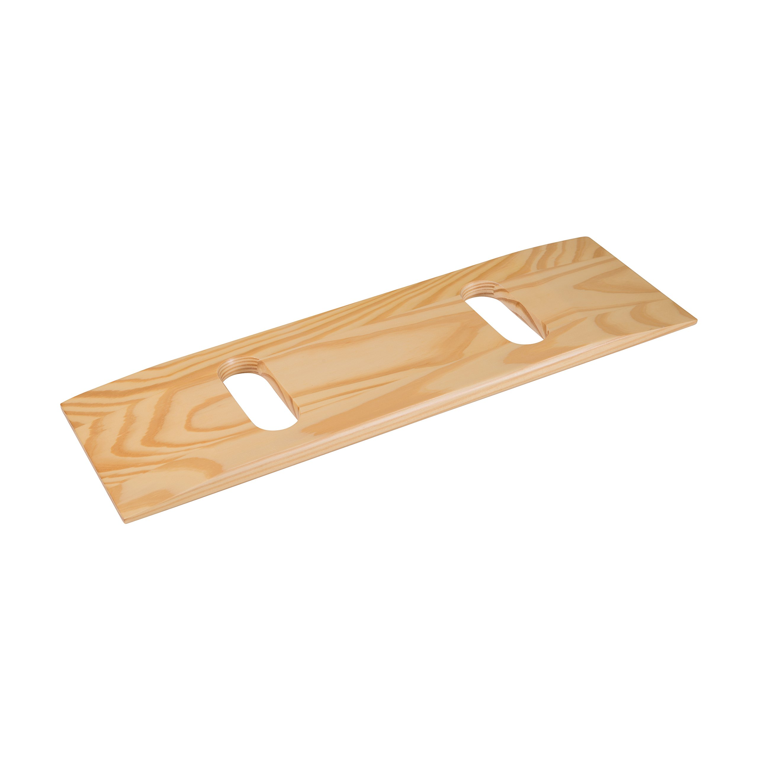 DMI Deluxe Wood Transfer Board Patient Slide Board, 8 x 24 with Two Cutouts, Compact Size, Supports 440lb, Southern Yellow Pine