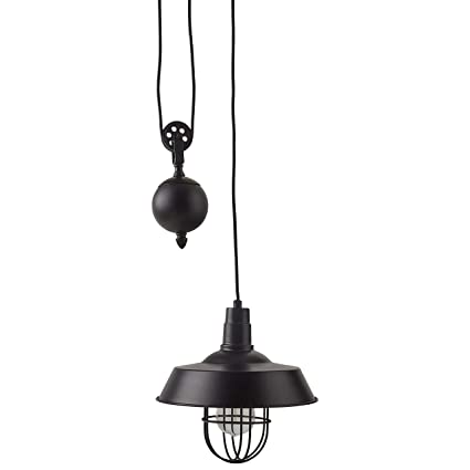 Stone Beam Farmhouse Pulley Pendant With Bulb 23 64 H Black