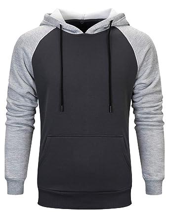 dad0d34f22 Tyhengta Mens Pullover Hoodies Casual Slim Fit Fleece Hooded Sweatshirts  Dark Grey Small