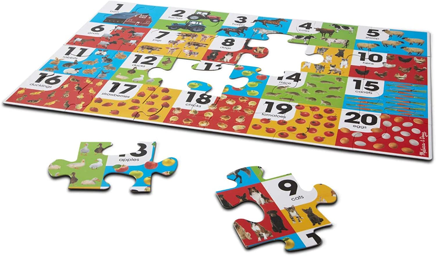 """Easy-Clean Surface, Promotes Hand-Eye Coordination, 24 Pieces, 36/"""" L x 24/"""" W, Great Gift for Girls and Boys - Best for 3, 4, 5, and 6 Year Olds Melissa /& Doug Farm Number Floor Puzzle"""
