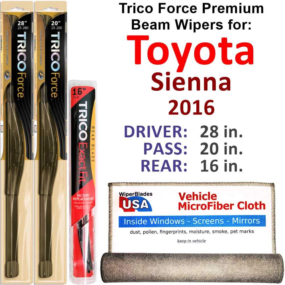 Premium Beam Wiper Blades for 2016 Toyota Sienna Driver/Passenger/Rear Trico Force Beam Blades Wipers Set Bundled with MicroFiber Interior Car Cloth by WiperBladesUSA