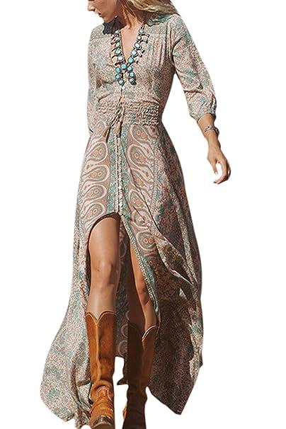 Sevozimda Le Donne Sono Floreali Bohemian Manica Lunga Tunica Swing Maxi Il  Vestito della Festa  Amazon.it  Abbigliamento 35c95a74e1f