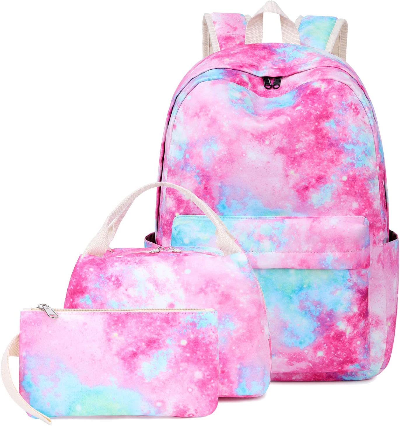 Lightweight Water Resistant Backpacks for Teen Girls School Backpack with Lunch Bag and Pencil Case