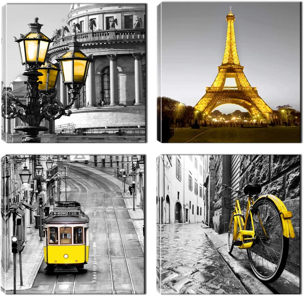 Paris Decor - Eiffel Tower Painting for Bedroom - Gray and Yellow Canvas Wall Art - Ready to Hang for Livingroom Office (Gray and Yellow)