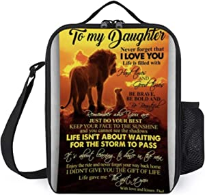 Portable Thermal Insulated Picnic Lunch Bag,To My Daughter Never Forget That I Love You Lion King Food Handbag Lunch Box With Shoulder Strap For Hot Or Cold Groceries