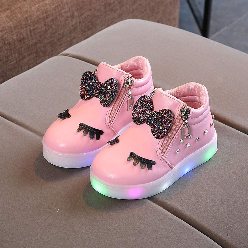 Vielone/_Lumi Toddler Kids Boys Girls Cartoon Bunny LED Ankle Boots Waterproof Sneakers Light up Tennis Shoes Luminous Walking Shoes Flashing Hiking Booties for Outdoor Sports
