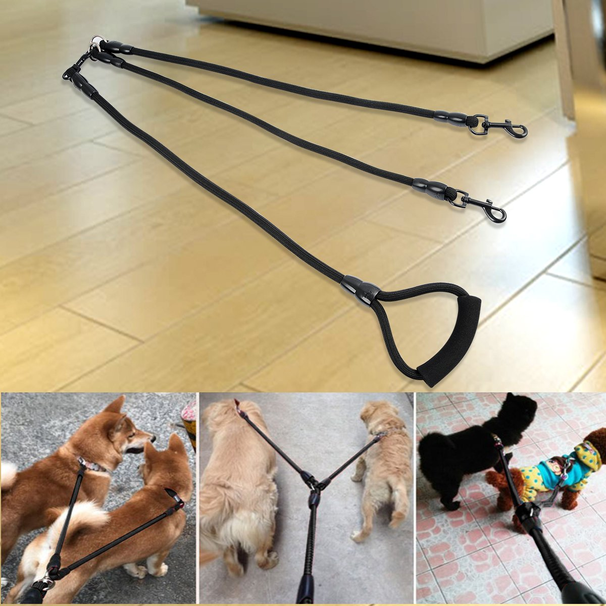 JETESUN Dual Double Dog Leash No Tangle Padded Handle 360 Swivel Two Small/Medium/Large Dogs (Double Dog) by JETESUN (Image #6)