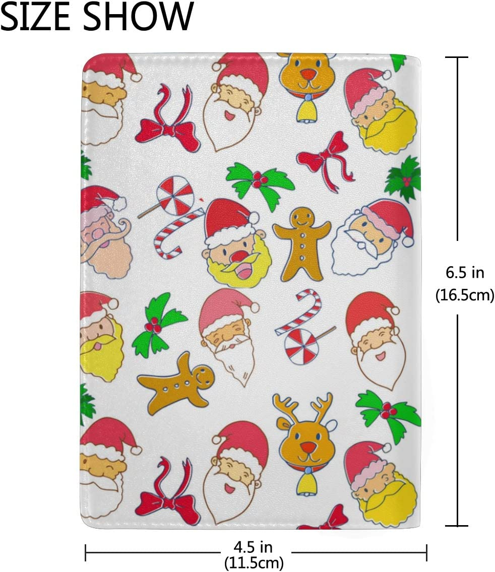 Santa Claus And Reindeer Leather Passport Holder Cover Case Blocking Travel Wallet