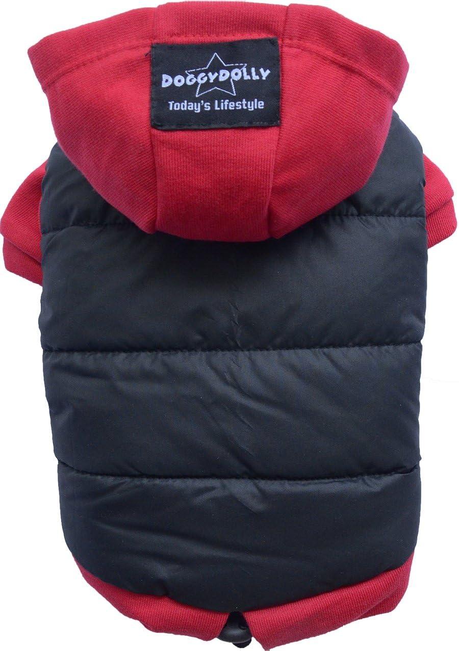 DOGGYDOLLY - Abrigo de Invierno para Perro con Capucha para Perro y Bulldog francés, Color Negro y Rojo