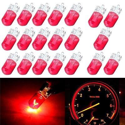 cciyu 20 Pack 194/168/T10 12V 5W Side Marker Clearance Light Halogen Bulb (10 PCS Red): Automotive
