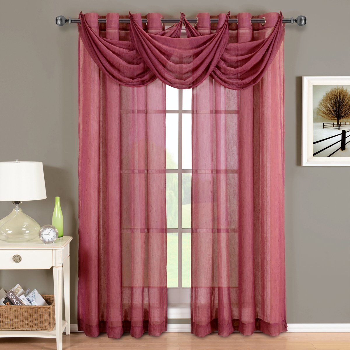 Abri Burgundy Grommet Crushed Sheer Curtain Panel, 50x84 inches, by Royal Hotel