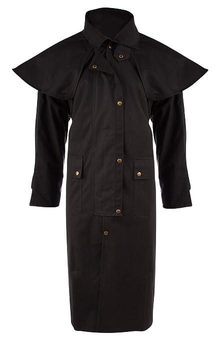 AceRugs Long Black Mens Oil Cloth Oilskin Western Australian Waterproof  Duster Coat Jacket Heavy Duty Warm 9fdf4243a91e