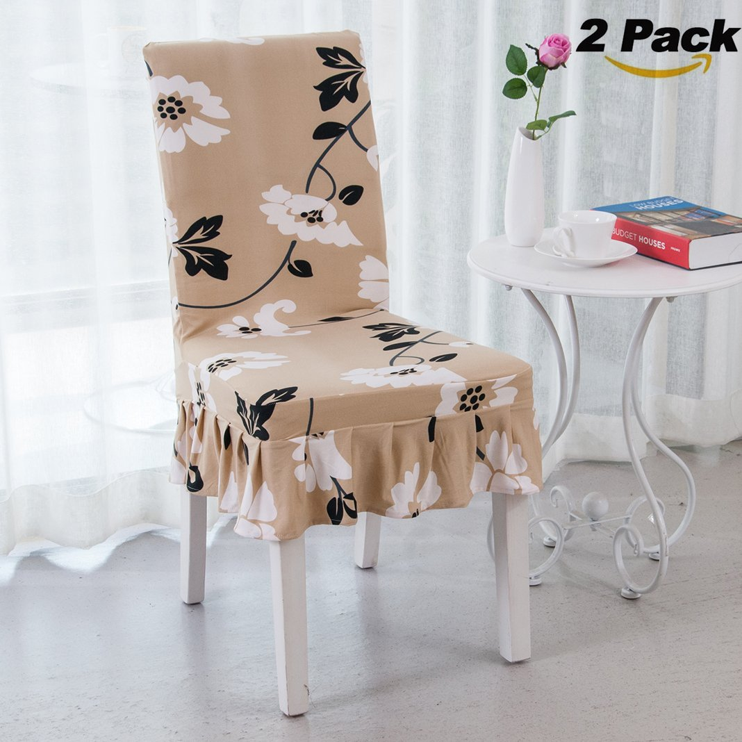 Rosa Schleife 2 Pack Chair Slipcovers, Elastic Stretch Removable Washable Dining Chair Cover Protector Seat Cover Slipcover for Hotel Party Hotel Banquet Dining Room Ceremony