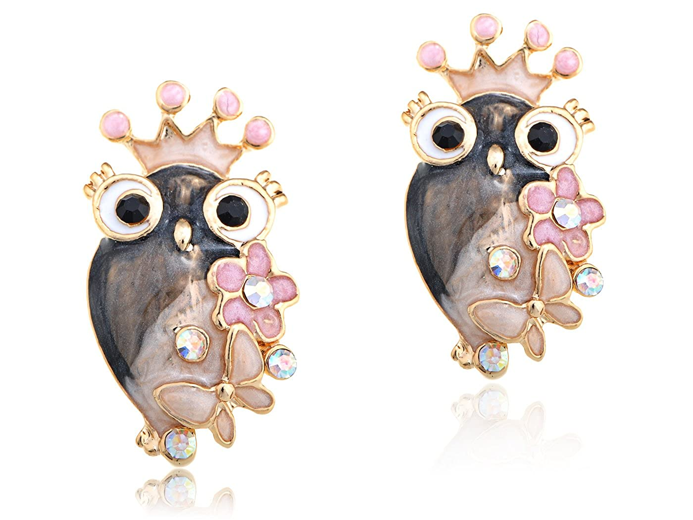 Golden Tone Queen Girly Owl Flower Butterfly Crystal Rhinestone Element Earrings