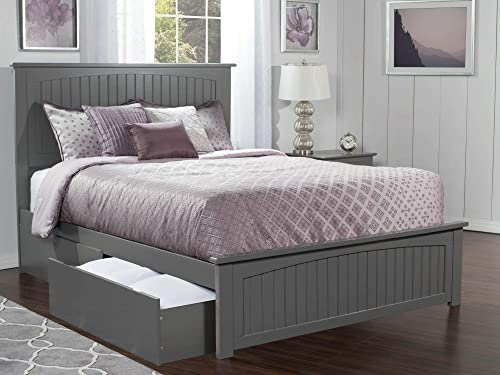 Atlantic Furniture AR8246119 Nantucket Platform Matching Foot Board and 2 Urban Bed Drawers, Queen, Grey