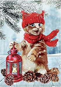 Morigins Winter's Tale Funny Cat Kitten Holly Double Sided Garden Flag Banner 12.5 x 18 inch, Christmas Tree Decorative Yard Flag