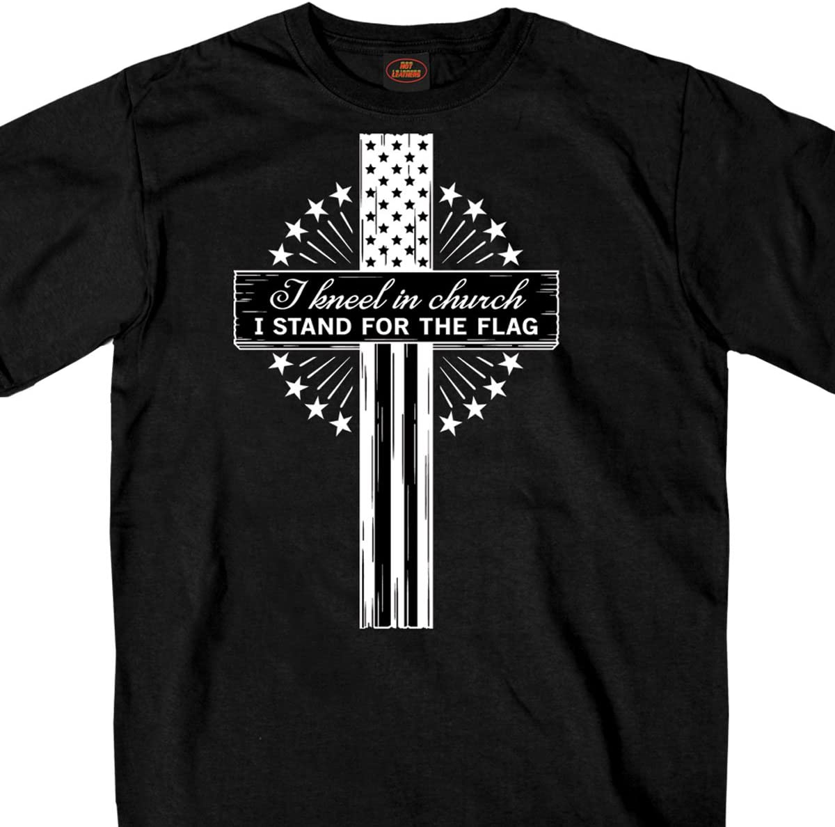 Black, Medium Hot Leathers Mens Short Sleeve Kneel in The Church t-Shirt