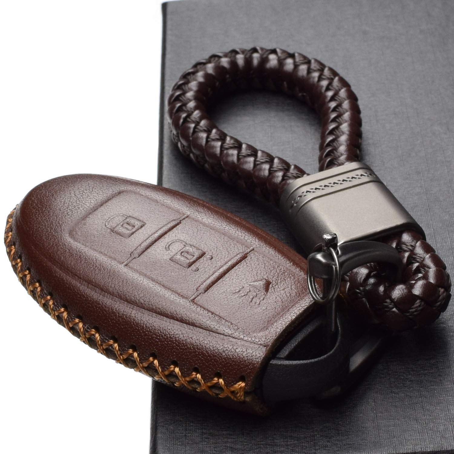 5 Buttons, Black Vitodeco Leather Keyless Entry Remote Control Smart Key Case Cover with a Key Chain for Nissan /& Infiniti