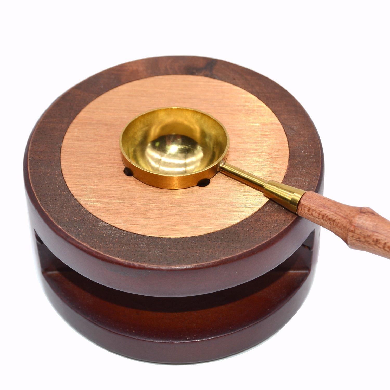 Wax Warmer,Wooden Handle Melting Spoon Kit with Tealights for Sealign Wax stick, Wax seal beads TELOSMA