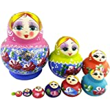 Set of 10 Cutie Lovely Pink Blue Gold Nesting Dolls Matryoshka Madness Russian Doll Popular Handmade Kids Girl Gifts Toy