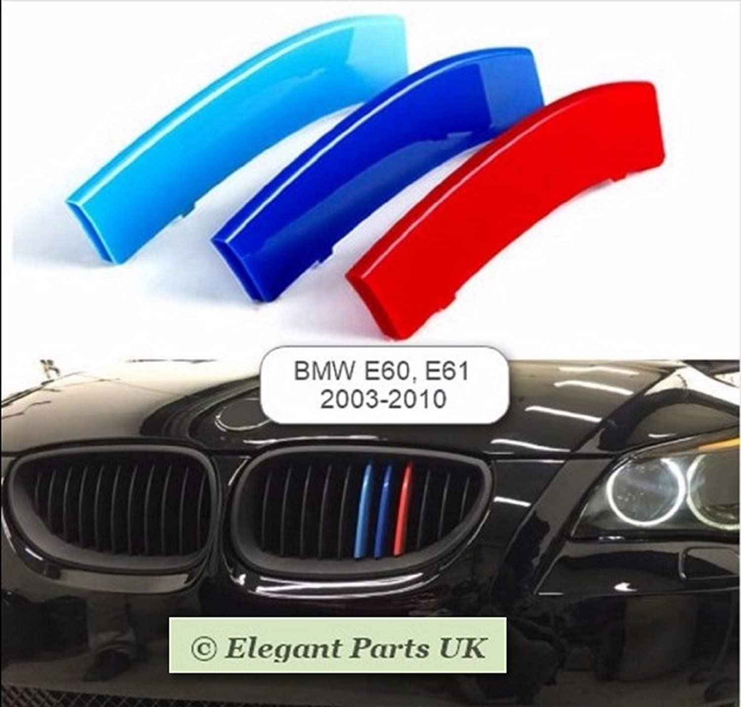 3D 3 Colours Kidney Grille ABS Covers for //////M Sport 5 Series E61 2003-2010