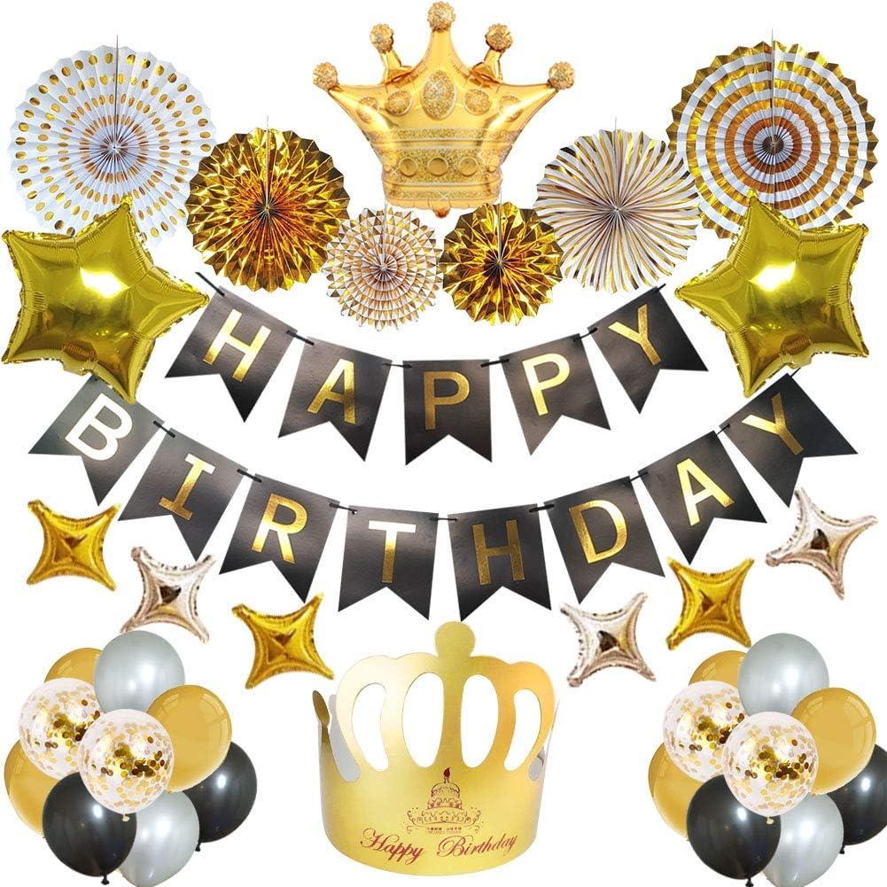 Mainiusi 風船 誕生日 飾り付け バルーン セット 特大 ゴールド ペーパーファン Happy Birthday ガーランド ハッピー バースデー パーティー豪華 お祝い 装飾 38点 大人、男の子、女の子