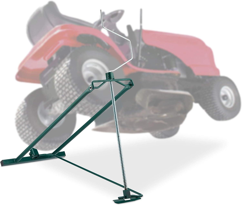Relaxdays Elevador Cortacésped 400 kg, Gato Quad y Tractor, Ángulo de Inclinación Ajustable, 1 Ud, Acero, Verde