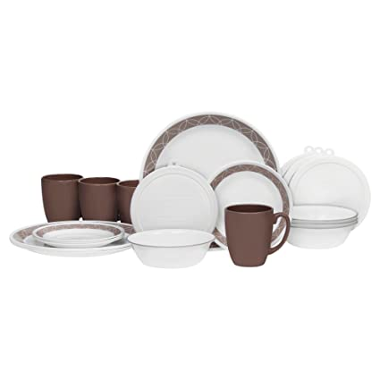 Corelle 20 Piece Livingware Dinnerware Set With Storage, Sand Sketch,  Service For 4