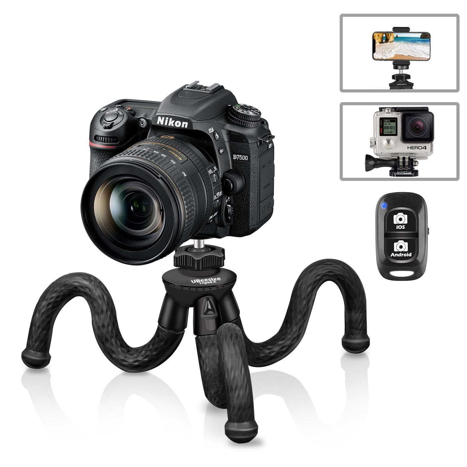Flexible Camera Tripod, UBeesize 12 inch Mini Tripod Stand GoPro/Action Cam/DSLR Canon Nikon Sony, Smartphone Tripod Stand Cell Phone Holder, Compatible with iPhone/Android (3 in 1) - Waterproof Tripod X Black