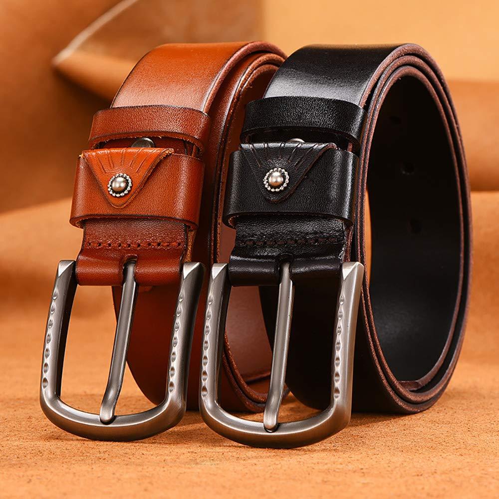 Martino Mens Belt Jeans Leather Belt Pin Buckle Brown Belt Bundle With a Wallet