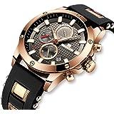 Relojes Hombre Relojes de Pulsera Impermeable Deportivo Cronógrafo Luminosos Reloj Hombre Grandes Diseñador Lujo Calendario Analógico con Correa de Goma