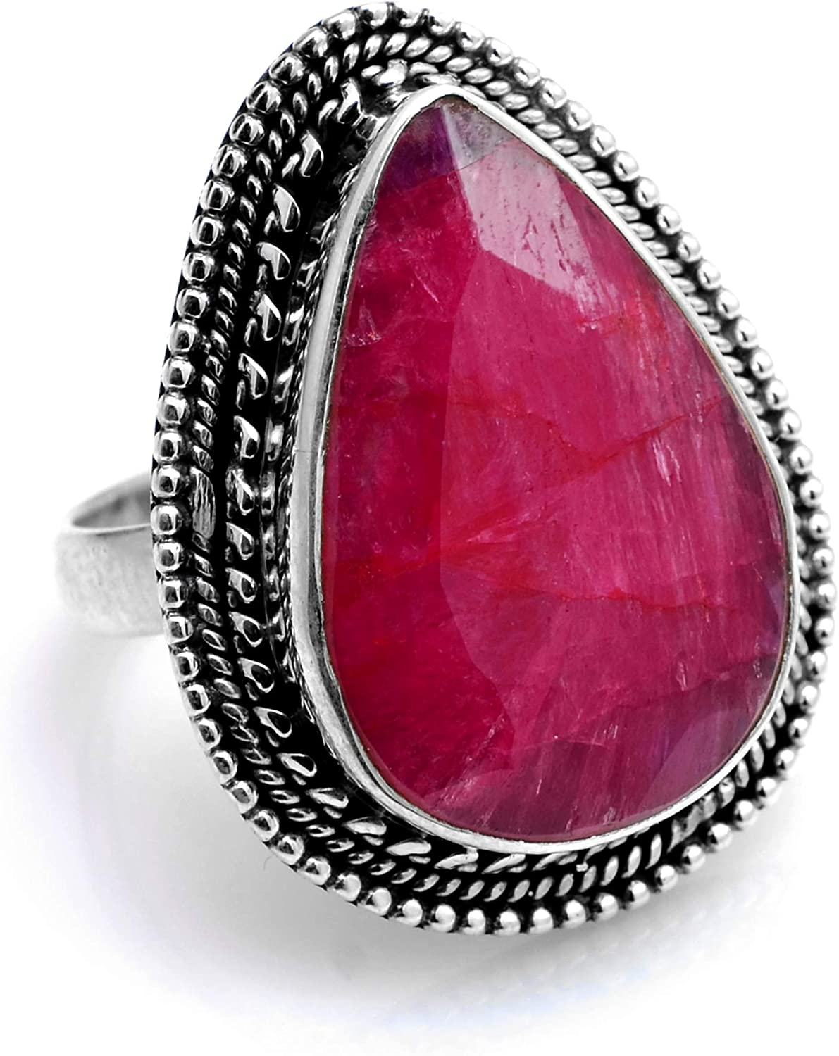 Silver Palace 925 Sterling Silver Natural Ruby Ring for Womens and Girls