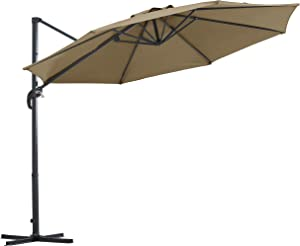 AmazonBasics Adjustable Patio Hanging Umbrella with Cantilever and Steel Frame - 10 Foot, Taupe Brown