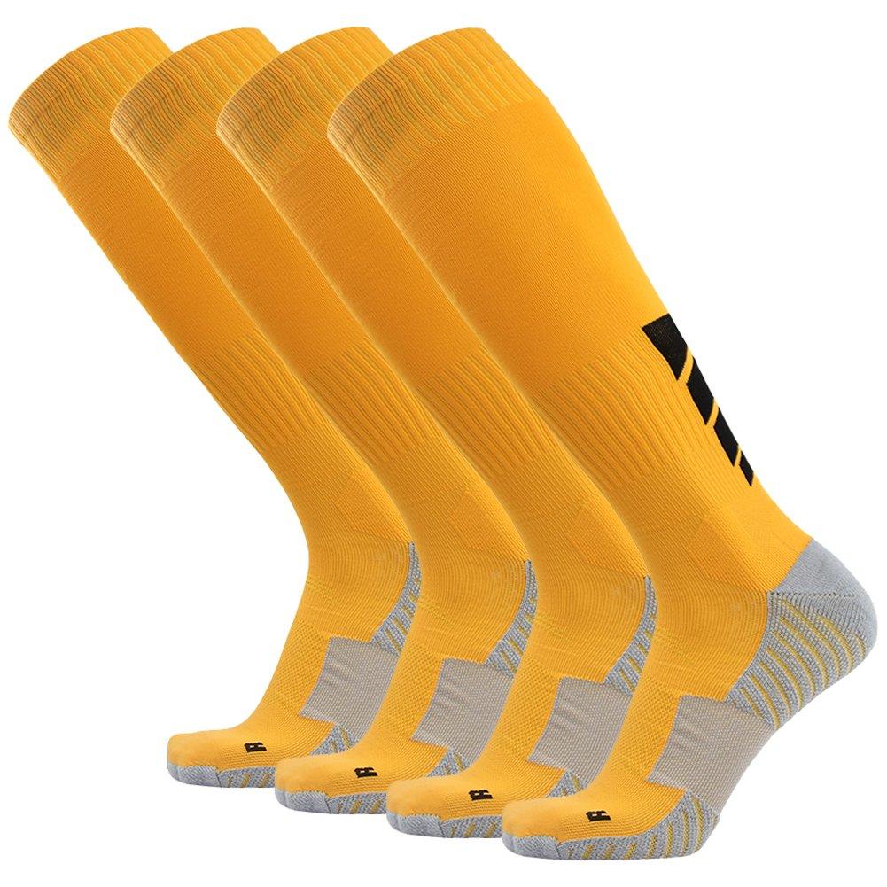 サッカーソックス、3streetユニセックスアスレチック圧縮ソックス1 / 2 / 3 / 4 / 6 / 10ペア B01EA7T3BU M(Fit For US 8-12)|4-Pairs yellow 4-Pairs yellow M(Fit For US 8-12)