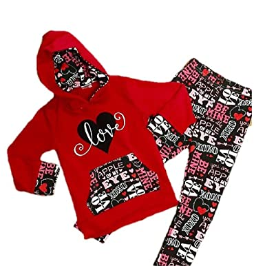 8e7af7a10 Toddler Girl/Girl's Valentine's Day Outfit Love Hoodie Children's Boutique  Clothing (3XL 7-